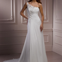 Ivory &amp; Silver Floral Embroidered Chiffon One Shoulder Ryshia Wedding Dress - Unique Vintage - Cocktail, Evening &amp; Pinup Dresses