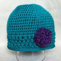 Xtylin&#x27;  Turquoise scalloped stitch beanie by HookinItbyBellaBeanz