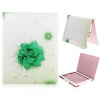 Flower Pattern Flip Leather Sleeve Stand Case Cover for iPad 2 (Green) Hot Sale At Wholesale Price - Gadgetsdealer.com