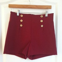 High-waisted Shorts (Maroon) from Belle La Vie Boutique