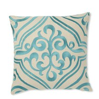 "D.L. Rhein Tile Embroidered Linen 16"" x 16"" Pillow - Turquoise"