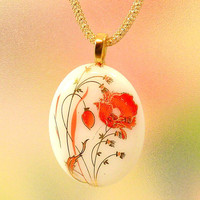 Red and Gold Poppy Fused Glass Pendant by KittyKatGlassDesigns