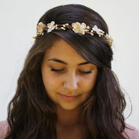 Bridal Hair Crown - Ivory Blossom and White Berry Floral Hair Wreath. Flower Girl hair Wreath, Weddings, Bridal Head Piece.