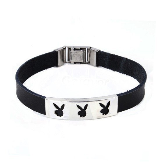 Unique Black Three Engraved Rabbits Leather Bangle Bracelet at online fashion jewelry store Gofavor