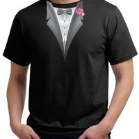 Amazon.com: Tuxedo Organic T-shirt with Pink Flower Adult Tee Shirt: Clothing