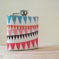 6 oz Stainless Steel Flask Festive Bunting by whimsyandink on Etsy
