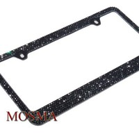 Bling Bling Pure Black Crystal Rhinestone-Metal Black License Plate Frame with Two Caps(Black-D Typ
