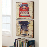 Vintage Typewriter Art Panels - Artwork - Furniture - NapaStyle
