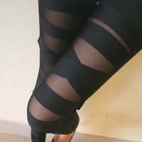 Sexy Black Bundle Pattern Leggings  from 1Point99.com