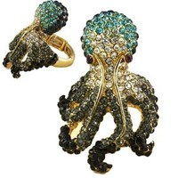 Oversized Gold with Multi Colored Turquoise Crystal Rhinestones Pave Octopus Stretch Ring Fashion Jewelry.: Jewelry: Amazon.com
