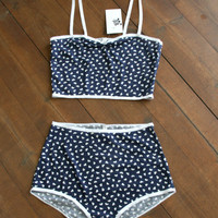 Retro Bra & Panties Set.Retro undies set. nautical lingerie set. high waist undies.pinup underwear.MADE TO ORDER