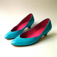 80s vintage Turquoise Leather Mini Wedge Heel by SkinnyandBernie