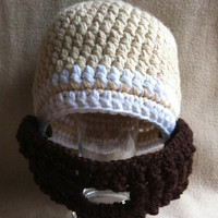 He&#x27;s a Manly Man  Beige beanie white by HookinItbyBellaBeanz