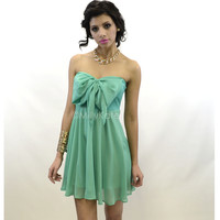 Mint Bow Tube Mini Dress