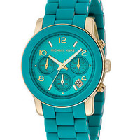 Michael Kors Watch, Women&#x27;s Chronograph Blue Polyurethane and Goldtone Stainless Steel Bracelet MK5266 - Sale &amp; Values - Jewelry &amp; Watches - Macy&#x27;s