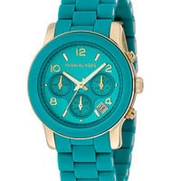 Michael Kors Watch, Women's Chronograph Blue Polyurethane and Goldtone Stainless Steel Bracelet MK5266 - Sale & Values - Jewelry & Watches - Macy's