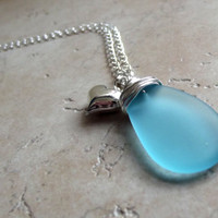 Blue Sea Glass Necklace:  Silver Heart Charm Valentine Jewelry, Turquoise Beach Glass Necklace