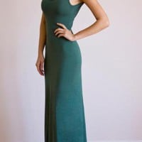 Green Day Dress - Abby Backless Maxi Tank Dress | UsTrendy