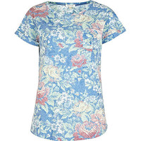 Blue burnout tapestry print t-shirt