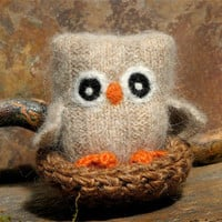 Adopt a Baby Owl  angora eco wool felt owl nest brown by woolcrazy