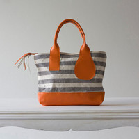 MINI Kallisto in stripe canvas and orange leather by milloo