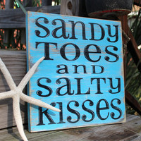 Beach Sign Sandy Toes Salty Kisses Turquoise by justbeachyshop