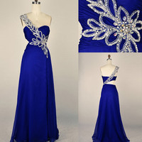 Beach One-shoulder Floor-length Chiffon Applique Blue Long Prom/Evening/Party/Homecoming/Bridesmaid/Cocktail/Formal Dress 2013 New Arrival
