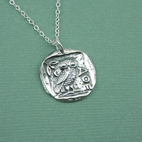 Athena Owl Necklace - 925 sterling silver charm pendant - goddess gift