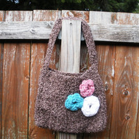 Brown boucle crochet shoulder purse with floral rose by luvbuzz