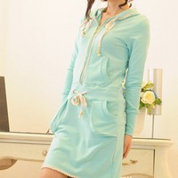 Lace trimming poket Hoodie skirt hoodie dress set
