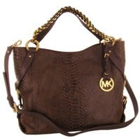Michael Kors Tristan Women's Leather Python Large Tote Handbag Brown