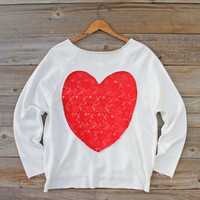 Sweet Heart Lace Sweatshirt, Sweet Cozy Hoodies & Sweaters