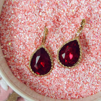 Ruby Red Glittering Earrings, Sweet Affordable Jewelry