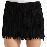 Haute Hippie - Suede Asymmetrical Fringed Skirt