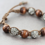 Pave Bracelet: Grey, Silver, Brown, Wooden Beaded Wrap Shamballa Bracelet, Black Diamond, Adjustable, Yoga, Zen