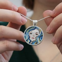 BlueHaired Girl 1 inch round glass art pendant silver by sacari