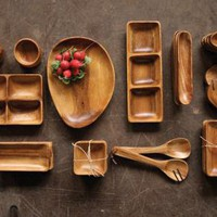 organic shaped acacia tray | wooden tray | made in the Philippines