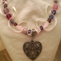 Heart pendant, pink and purple bead and ribbon necklace.  Ships free,