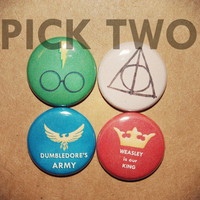 Harry Potter buttons Pick TWO by TreeRootandTwig on Etsy