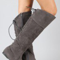 Lovve Lace Up Round Toe Knee High Boot
