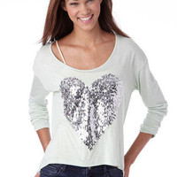 Sequin Heart Long-Sleeve