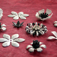 Vintage Enamel Flowers Vintage Jewelry Parts by BeachCastleBeads