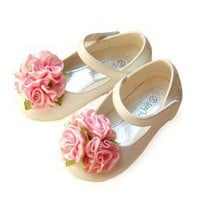 Patent Leather Upper Flat Heel Closed Toe With Pink Flower Wedding Flower Girl Shoes - $39.83