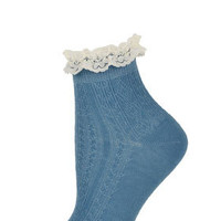 Blue Lace Trim Socks - Tights & Socks  - Clothing
