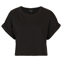 Roll Back Crop Tee - Jersey Tops - Clothing - Topshop
