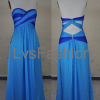 Strapless Sweetheart Chiffon Blue Prom Dresses, Party Dresses, Evening Dresses, Evening Gown
