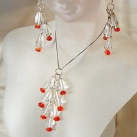 VALENTINE'S GIFT,GEMSTONES QUARTZ CRYSTAL,CARNELIAN-NECKLACE,EARRINGS