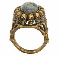 House of Harlow 1960 Oval Skull Ring in Gold