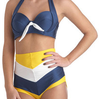 Sailorette at Sea Swimsuit Bottom in Yellow