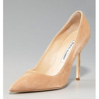 Manolo Blahnik BB Suede High-Heel Pump, Taupe